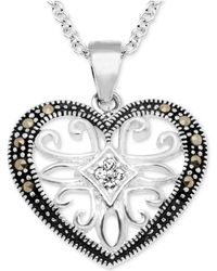 "Macy's - Marcasite & Crystal Openwork Heart 18"" Pendant Necklace In Fine Silver-plate - Lyst"