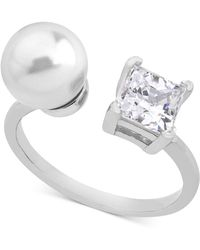 Majorica - Sterling Silver Square Cubic Zirconia & Imitation Pearl Open Ring - Lyst