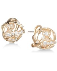 Carolee - Gold-tone Crystal & Imitation Pearl Caged Button Earrings - Lyst