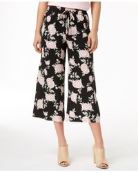 Kensie - Printed Cropped Wide-leg Trousers - Lyst