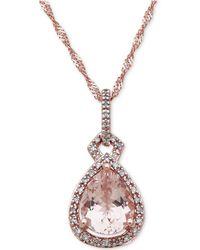Macy's - Morganite (2 Ct. T.w.) & Diamond (1/6 Ct. T.w.) Pendant Necklace In 10k Rose Gold - Lyst