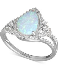 Macy's | Lab-created Opal (3/4 Ct. T.w.) And White Sapphire (3/8 Ct. T.w.) Ring In Sterling Silver | Lyst