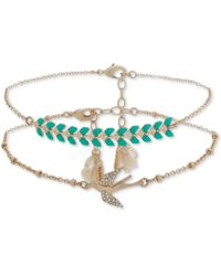 Lonna & Lilly - Gold-tone 2-pc. Set Pavé, Stone & Tassel Anklets, Created For Macy's - Lyst