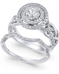 Macy's - Diamond Braided Double Halo Bridal Set (1 Ct. T.w.) In 14k White Gold - Lyst