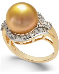 Macy's - Cultured Golden South Sea Pearl (12mm) And Diamond (5/8 Ct. T.w.) Ring In 14k Gold - Lyst