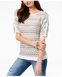 INC International Concepts - I.n.c. Chevron-print Drawstring-sleeve Sweater, Created For Macy's - Lyst