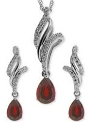 No Vendor | Ruby (1 Ct. T.w.) And White Topaz (3/8 Ct. T.w.) Jewelry Set In Sterling Silver | Lyst