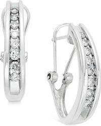 Macy's | Diamond Channel-set J-hoop Earrings (1/2 Ct. T.w.) In 10k White Or Yellow Gold | Lyst