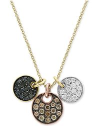 Effy Collection - Diamond Tri-color Disc Pendant Necklace (5/8 Ct. T.w.) In 14k Yellow, White & Rose Gold - Lyst