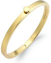 Kate Spade - Bracelet, 12k Gold-plated Spade Hinged Thin Bangle Bracelet - Lyst