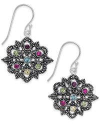 Macy's - Marcasite & Colored Crystal Openwork Drop Earrings In Silver-plate - Lyst