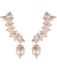 Marchesa - Swarovski & Imitation Pearl Ear Climber Earrings - Lyst