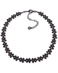 """Anne Klein - Black-tone Crystal Collar Necklace, 16"""" + 3"""" Extender, Created For Macy's - Lyst"""