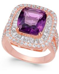 Macy's - Synthetic Amethyst & Cubic Zirconia Ring In 14k Rose Gold-plated Sterling Silver - Lyst