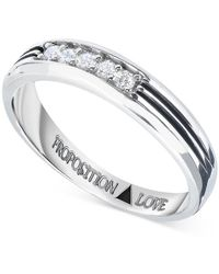 Proposition Love - Men's Diamond Wedding Band (1/5 Ct. T.w.) In 14k White Gold - Lyst