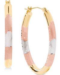 Macy's - Tricolor Hoop Earrings In 14k Gold - Lyst