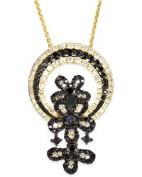 Effy Collection - Black And White Diamond Flower Necklace In 14k Gold (1-1/6 Ct. T.w.) - Lyst