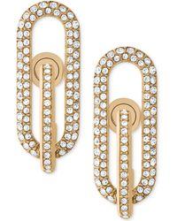 Michael Kors | Gold-tone Pavé Loop Post Earrings | Lyst
