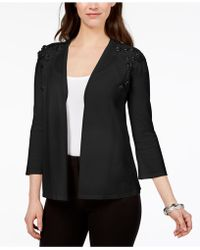 Alfani - Sequined Floral-appliqué Cardigan, Created For Macy's - Lyst