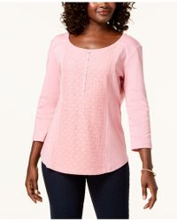 Karen Scott - Cotton Lace-front Henley Top, Created For Macy's - Lyst