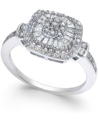 Macy's - Diamond Vintage-inspired Ring (1/2 Ct. T.w.) In 14k White Gold, Yellow Gold And Rose Gold. - Lyst
