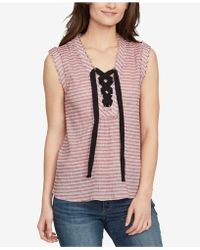 William Rast - Cotton Striped Lace-up Top - Lyst