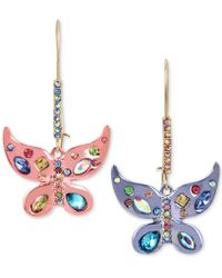 Betsey Johnson - Two-tone Multi-stone Butterfly Drop Earrings - Lyst