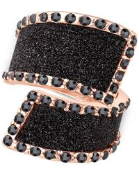 Guess - Rose Gold-tone Black Stone Glitter Ring - Lyst