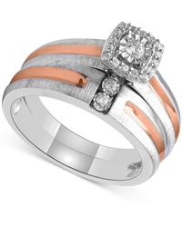 Beautiful Beginnings - Diamond Bridal Set (1/5 Ct. T.w.) In Sterling Silver And 14k Rose Gold - Lyst