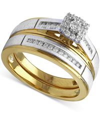 Beautiful Beginnings - Diamond Engagement Ring And Wedding Band Set (1/5 Ct. T.w.) In 14k Gold And White Gold - Lyst