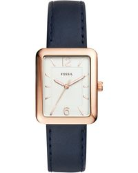 Fossil - Women's Atwater Blue Leather Strap Watch 28x34mm Es4158 - Lyst