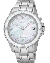 Seiko Women's Kinetic Sportura Diamond Accent Stainless Steel Bracelet Watch 37mm Ska881