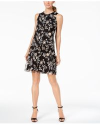 Calvin Klein - Embroidered Trapeze Dress - Lyst