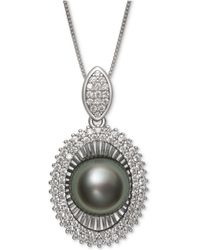 "Macy's | Black Cultured Tahitian Pearl (10mm) & Cubic Zirconia 18"" Pendant Necklace In Sterling Silver 
