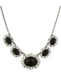 """2028 - Silver-tone Black Stone And Crystal 5-oval Collar Necklace 16"""" Adjustable - Lyst"""