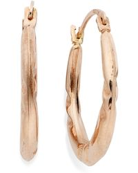 Macy's - 10k Rose Gold Earrings, Pinched Hoop Earrings - Lyst