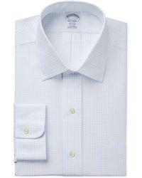 Brooks Brothers - Slim-fit Non-iron Light Blue Grid Check Dress Shirt - Lyst