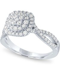 Macy's - Diamond Halo Cluster Ring (5/8 Ct. T.w.) In 14k White Gold - Lyst