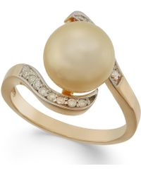 Macy's - Golden South Sea Pearl (10mm) And Diamond Ring In 14k Gold - Lyst