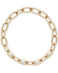Michael Kors - Gold-tone Imitation Pearl Large Link Collar Necklace - Lyst