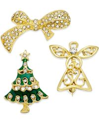 Charter Club - Gold-tone Set Of 3 Christmas Crystal Pins, Only At Macy's - Lyst