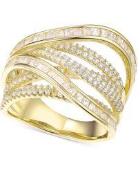 Macy's - Cubic Zirconia Crisscross Statement Ring In Sterling Silver - Lyst
