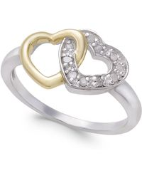 Macy's - Diamond Two-tone Interwined Heart Ring (1/10 Ct. T.w) In Sterling Silver And 14k Gold-plate - Lyst