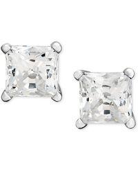 Macy's | Princess-cut Diamond Stud Earrings In 14k White Gold (1 Ct. T.w.) | Lyst