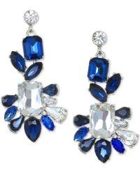 Badgley Mischka - Silver-tone Crystal & Stone Drop Earrings - Lyst