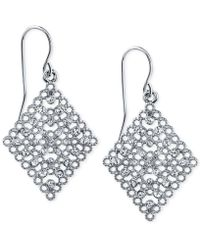 2028 - Silver-tone Crystal Filigree Drop Earrings, A Macy's Exclusive Style - Lyst