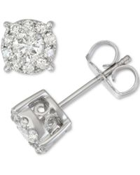 Macy's - Diamond Halo Stud Earrings (1/2 Ct. T.w.) In 14k White Gold - Lyst