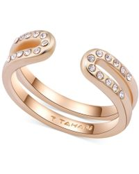 T Tahari - Gold-tone Pave Open Ring - Lyst
