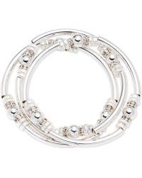 Nine West - Silver-tone 3-pc. Set Metal Bangle Decorated Stretch Bracelets - Lyst