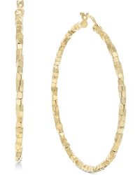 Macy's - Skinny Square Textured Polished Hoop Earrings In 14k Gold - Lyst